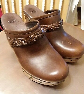 38c0a100c99 UGG BROWN BRAIDED Suede Leather Studded Kaylee Sheepskin Clogs Wood ...