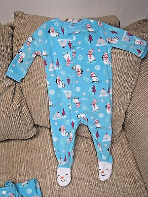 5f8435084 CARTERS TODDLER FLEECE Footed Snowman Tree Winter Holiday Pajamas Size 2t