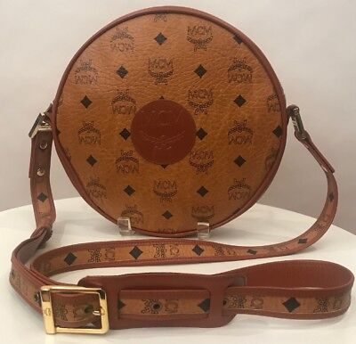 396adabccd Authentic MCM Vintage Visetos Monogram Cognac Brown Round Messenger Handbag  RARE