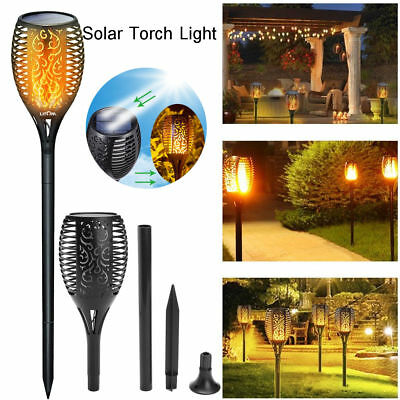 1-2tlg. LED Solar Fackel 96 LEDs Gartenfackel amber Feuer Imitation outdoor Neu