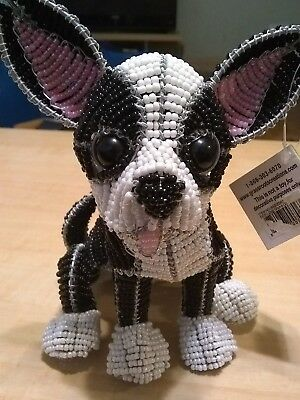 Beadworx Chihuahua Gizmo Black & White Dog Grass Roots Creations Glass Beads New