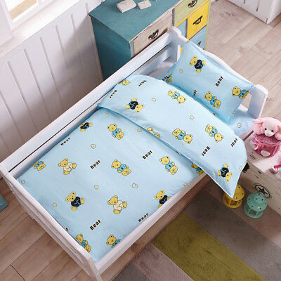 Blue Teddy Bear Baby Boy Bedding Crib Cot Set Quilt Cover Padded Cotton Nursery