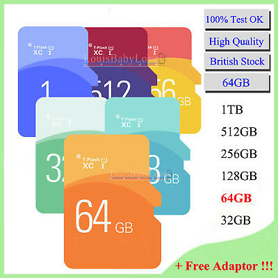 Memory Storage Card 64GB Ultra Micro SD SDHC UHS-I T-Flash For Phones + Adaptor
