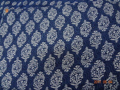 10 Yard Indian Hand Block Printed Sewing Floral Decorative Natural Cotton Fabric