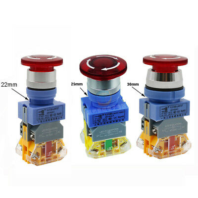 22/25/30mm Illuminated Mushroom Emergency stop Push Button Switch LA37 NO+NC 10A