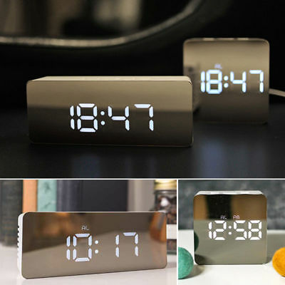 LED Digital Alarm Clock Night Light Thermometer Display Mirror Lamp 2 Modes