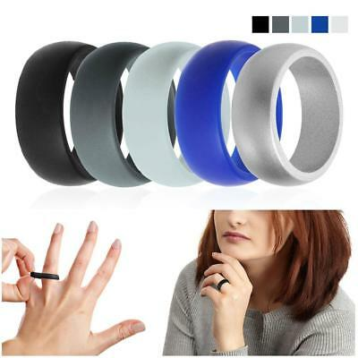 Silicone Wedding Ring Band Rubber 10 Pack Men Women Flexible Gift Comfortable