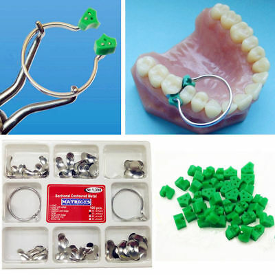 1 Set Dental Sectional Contoured Matrices Matrix Ring + 40 Pcs Add-On Wedges