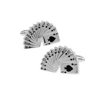 Silver Pack Of Cards Pair Cufflinks Shirt Novelty Funny Gambling Poker Card