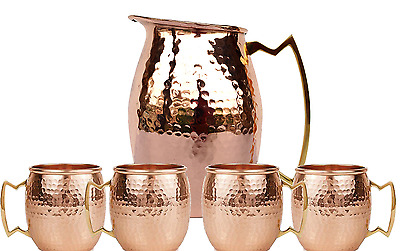 Jug Pitcher Moscow Mule Pure Soli With Set of 4 Beer Mug Pure copper Hammered