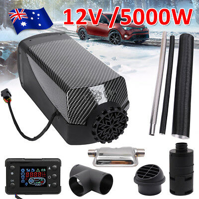 12V 5KW Diesel Air Heater Tank Vent Duct Thermostat Silencer Caravan Motorhome