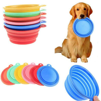 Pet Dog Collapsible Silicone Food Dish Feeding Bowl Travel Foldable Feeder