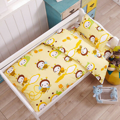 Yellow Bees Animal Baby Bedding Crib Cot Set Quilt Cover Padded Cotton Nursery