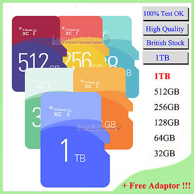 Ultra Memory Storage SD Card 1TB TF Flash SDHC SDXC & Free Adapter For Mobiles