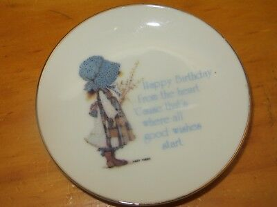 "8"" Small Holly Hobbie Plate Happy Birthday From The Heart"