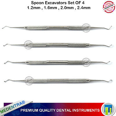 4Pcs Restorative Spoon Excavator Dental Carious Removal 1.2mm 1.6mm 2.0mm 2.4mm