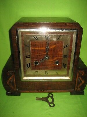 ART DECO HALLER  MANTLE CLOCK WOODEN CARVED - NOT WORKING with KEY