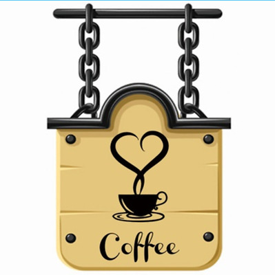 1x Coffee Cups Cafe Tea Wall Stickers Decal For Kitchen Home Creative Decor Cute