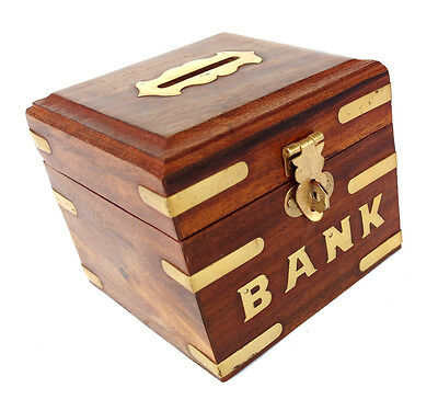 Box Wooden Piggy Bank For Boys Girls And Adults Safe Money FOR FUTURE COIN STORE