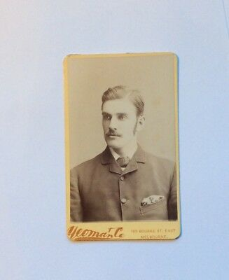 Antique Victorian Photograph CDV Serious Handsome Chap C. 1880 Yeoman Melbourne