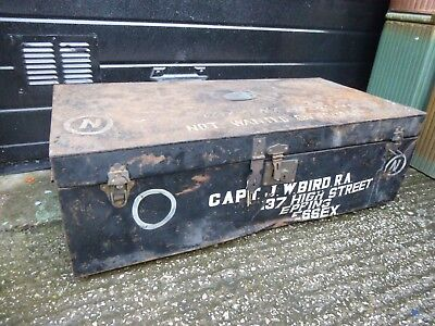 Vintage Large Ex-Military Metal Storage Chest Steamer Trunk