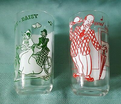 Lot of 2 Song Lyric Glasses☆(Red) How Dry I Am & (Green) Daisy Bell