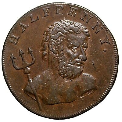 1794 Great Middlesex Fowler's Wale Fishery Halfpenny Conder Token D&H-306