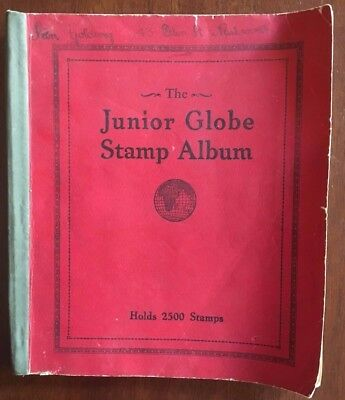 Vintage The Junior Globe Stamp Album with Approx. 35 Used Stamps GC
