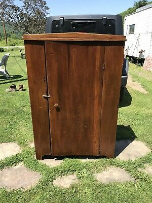 Primitive Handmade Four Shelved Cupboard , Square Nails, 3 Plank Back, Pantry