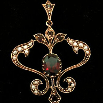 VICTORIAN style GENUINE 9ct 9K Rose Gold Natural GARNET & Pearl Scroll PENDANT