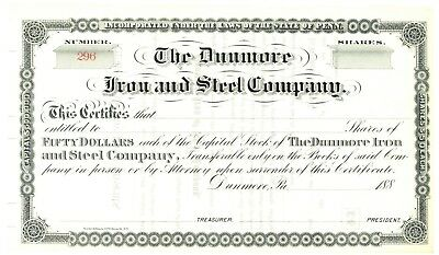 Dunmore Iron and Steel Company. Stock Certificate. Pennsylvania