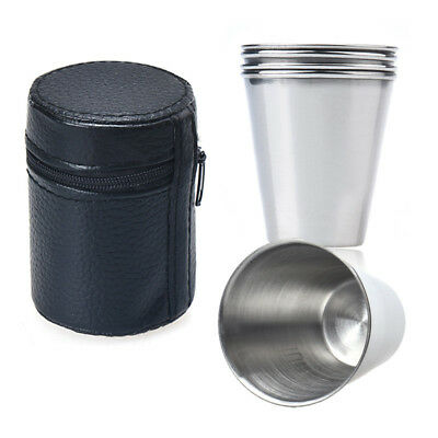 4pcs Stainless Steel Outdoor Camping Cups Coffee Tea Mugs Tumbler with Cases Kit