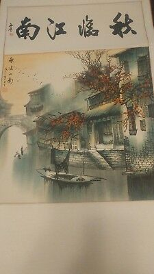 Original Chinese Hand Painted Hanging Scroll - Colorful City on the river