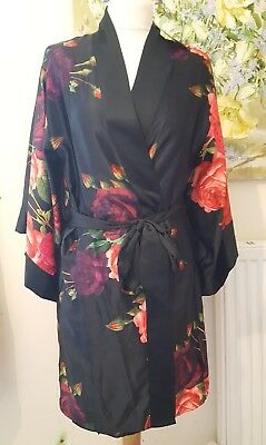 Ted Baker B By Ted Juxtapose Rose Dressing Gown New With Tags Black