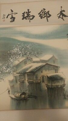 Original Chinese Hand Painted Hanging Scroll - house and boats on the river in w