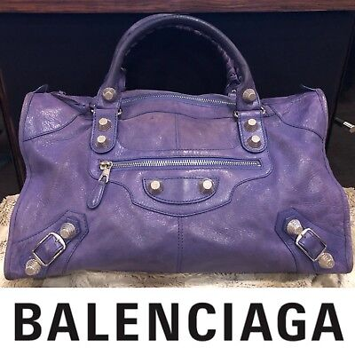 7912cef2fe7 $2,490 Authentic BALENCIAGA Giant 21 Agneau Silver City Purple Motorcycle
