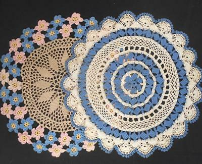 """2 Vintage Hand Crocheted Lace 15"""" Round Doilies W/blue&pink Colored Flowers"""