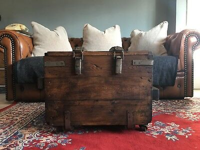 Vintage wooden Trunk Chest box Rustic Industrial Coffee table upcycled antique