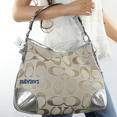 NWT Coach Peyton Signature Metallic Tote Shoulder Bag 19758M Khaki Silver NEW