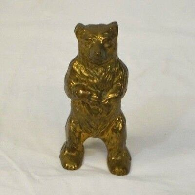 Vintage Brass Bear on Hind Legs Penny Piggy Bank Made in England