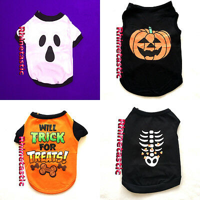 Hunde Shirt Halloween Hundeshirt Gespenst Kürbis Skelett Kostüm Trick or Treat