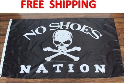 No Shoes Nation Flag Black White Skull Bones Pirate Banner Country Music 3X5ft
