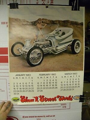 """Vintage 1983 ISCA Show 'n' Street World Calendar Cars and Women Pictures 18""""x24"""""""