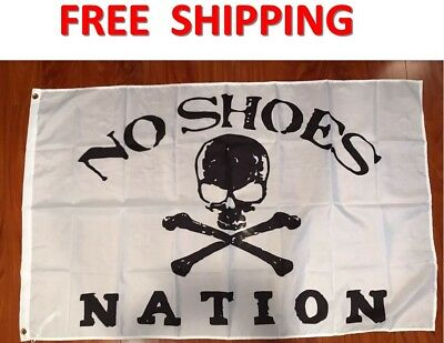 No Shoes Nation Flag White Black Skull Bones Pirate Banner Country Music 3X5ft !