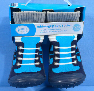 Luvable Friends Rubber-Grip Sole Socks 12-18 Months Blue Sneaker Style New