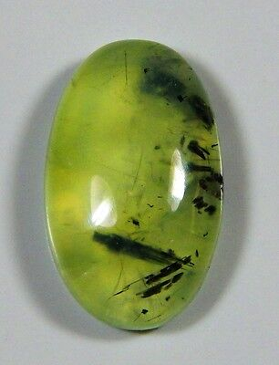 22 Ct  Natural Green Apple Rutilated Prehnite Oval Cabochon Africa Gemstone D389