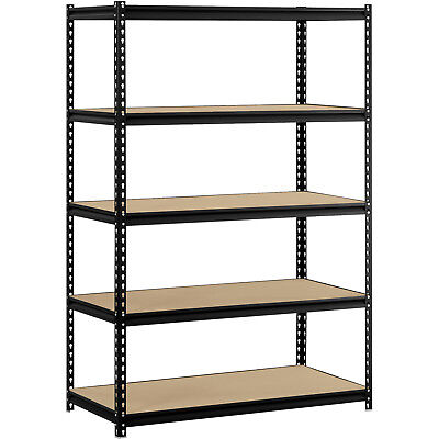 "Steel Garage Shelving 5-Shelf Black Muscle Rack 48""W x 24""D x 72""H Storage"