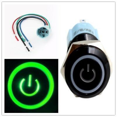 New 16mm Blue On Off LED 12V Latching Push Button Power Switch Waterproof