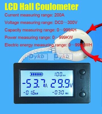 Digital LCD Hall coulombmeter DC 300V 200A Voltmeter Ammeter Battery Power meter