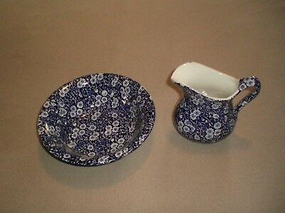 Crownford China Co. Calico Pitcher and Bowl, Staffordshire, England